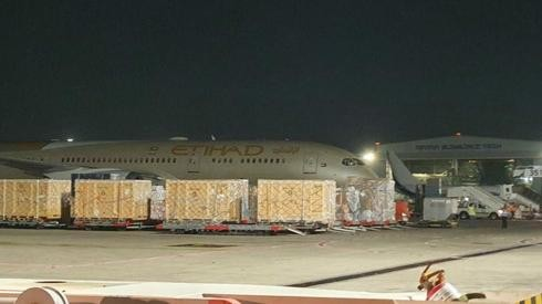 UAE plane carrying aid to the Palestinian Authority lands at Ben Gurion Airport