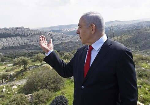 Prime Minister Benjamin Netanyahu visits the area where a new neighborhood is to be built in the East Jerusalem settlement of Har Homa