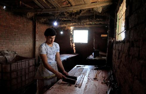 Mohamed Abdul Rahman, 18, son of a papyrus farmlands and workshops owner compresses sliced papyrus plant at a workshop in al-Qaramous village