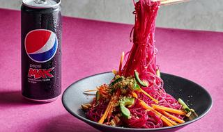 Pink cellophane noodle salad from Pekin Chinese restaurant in Tel Aviv