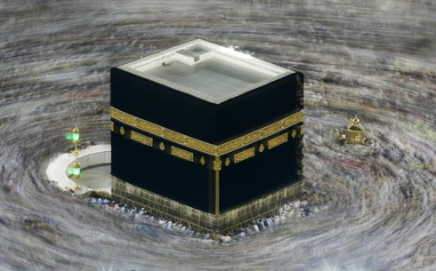 Pilgrims pack together as they circle the Kaaba at the Grand Mosque in Mecca during the 2019 Hajj