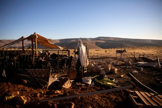 A settler prays near goats in an enclosure at the West Bank outpost of Maoz Ester