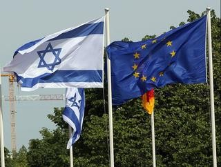 The flags of Israel and the EU fly together