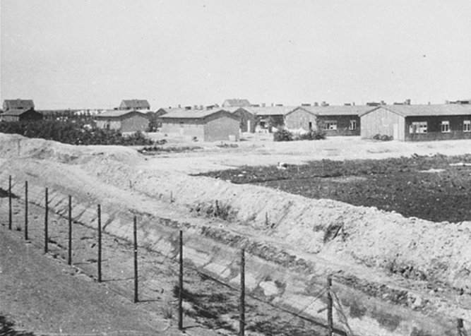 Westerbork transit camp in the Netherlands following its liberation in 1945