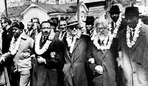 Rabbi Abraham Joshua Heschel, 2nd right, marching with Martin Luther King, 2nd left, in Selma, Alabama in 1965