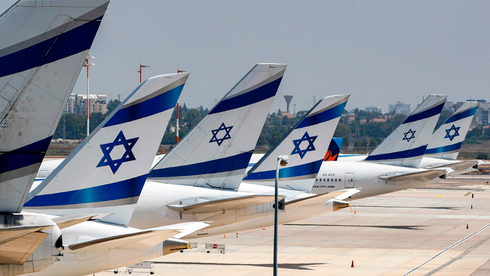Planes belonging to Israeli national carrier El Al are parked at Ben-Gurion Airport last year after a suspension of international flights