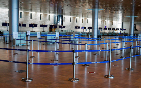 Ben-Gurion Airport check-in area stands empty due to coronavirus restrictions, July 2020