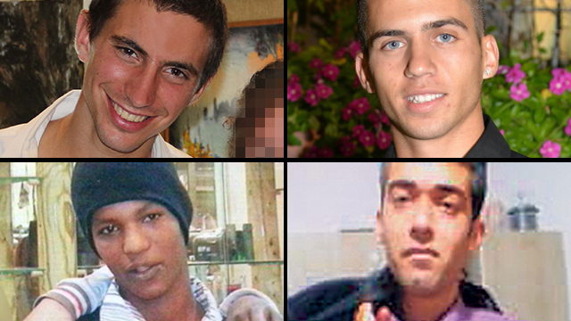 Clockwise from top left: Fallen soldiers Hadar Goldin and Oron Shaul, captives Hisham al-Saeed and Avera Mengistu