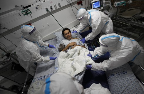 A medical team at Ziv Hospital in the northern city of Safed carries out a simulation ahead of the re-opening its coronavirus ward, July 9 2020