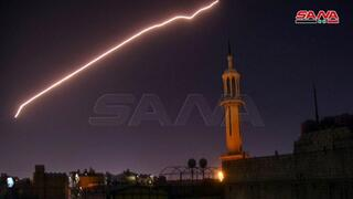 Syrian air defense missiles activate during a strike on Damascus attributed to Israel in July