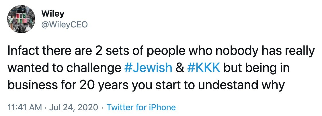 One of Wiley's anti-Semitic tweets
