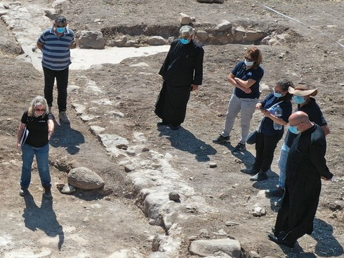 Head of the Greek Catholic Church, Youssef Matta, during his visit to the excavation site of 1,300-year-old church in the village of Kfar Kama, near Mount Tabor
