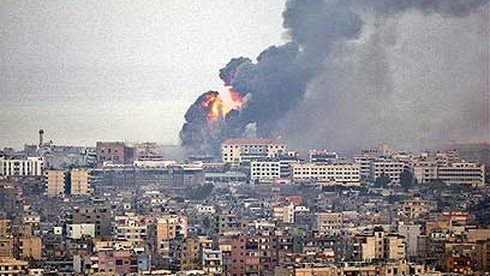 An IDF strike on a Hezbollah-held area of Beirut during the 2006 Second Lebanon War
