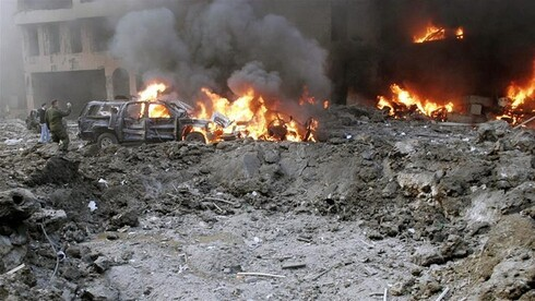 The devastation left after the bomb that targeted the motorcade of Rafik Hariri in Beirut on February 14, 2005
