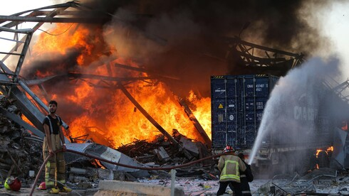 Fire caused by a massive explosion in the port of Beirut