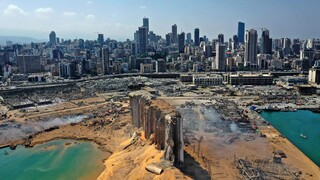 An aerial view shows the massive damage done to Beirut port's grain silos