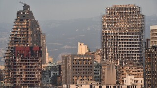 Destruction in Beirut in the aftermath of the explosion in the city's port in 2020