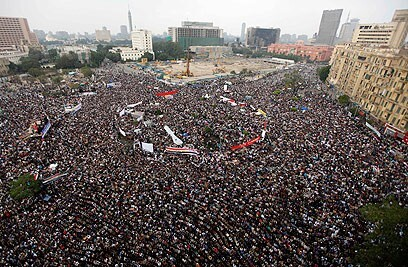 Egyptians crowd into Cairo's Tahrir Square in 2011 protest against the government