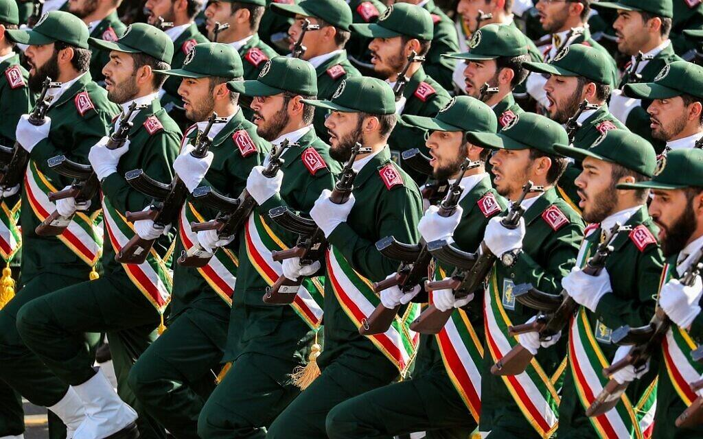 Members of Iran's Islamic Revolutionary Guard Corps (IRGC) march during the annual military parade marking the anniversary of the outbreak of the devastating 1980-1988 war with Saddam Hussein's Iraq, in the capital Tehran