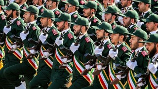 Members of Iran's Revolutionary Guard Corps marching in Tehran
