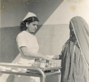 Rosa Katzav in her youth treating a Muslim patient in Bahrain
