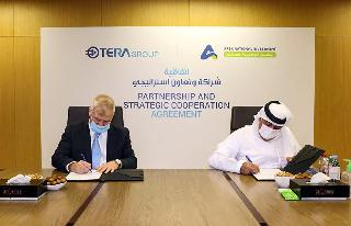 epresentatives from the Emirati company APEX National Investment (R) and the Israeli TeraGroup, signing an agreement to develop research on the novel coronavirus, in the Emirati capital Abu Dhabi