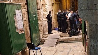 The scene of the attack in Jerusalem's Old City in which a policeman was moderately wounded