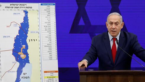 Prime Minister Benjamin Netanyahu in 2019 delivers a statement in Ramat Gan on Israel's intentions to annex the Jordan Valley