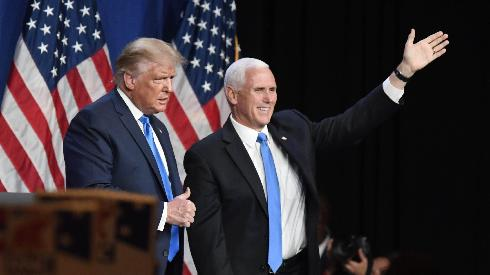 President Donald J. Trump and Vice President Mike R. Pence greet the Republican National Convention