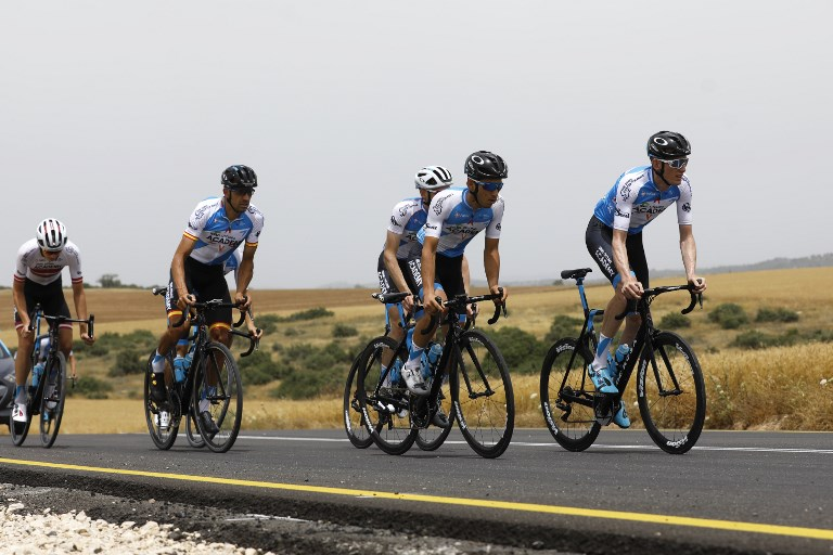 Members of the Israel Cycling Academy team train near Kibbutz Beit Guvrin