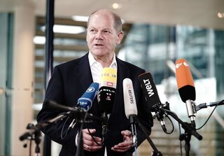 German Finance Minister and Vice-Chancellor Olaf Scholz — leader of the center-left SPD party which won the most votes in the German federal election