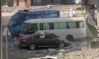 Aftermath of the blast in Abu Dhabi shortly before the arrival of Israeli and U.S. delegations