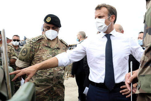French President Emmanuel Macron meets with members of the military mobilised for the reconstruction of the port of Beirut, Sept. 1, 2020