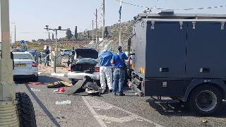 The scene of the suspected attack at Tapuach Junction