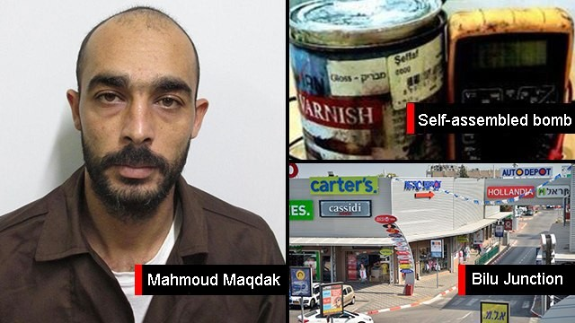 Suspected Hamas recruit Mahmoud Maqdak planned to set off a homemade bomb at Bilu Junction