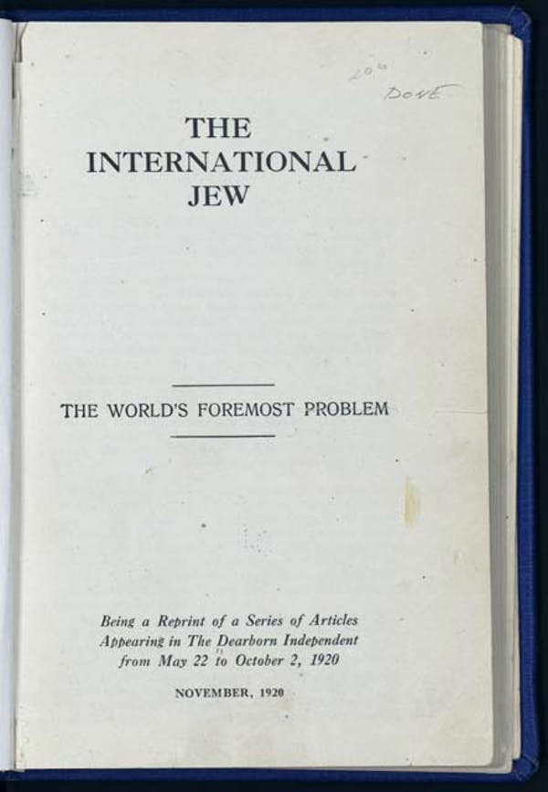 The International Jew, published by Henry Ford