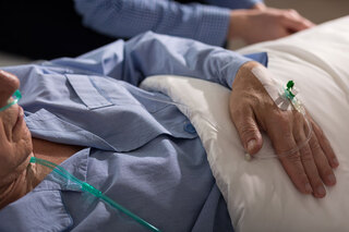 Patient receiving transfusion