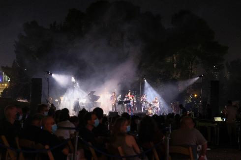 A band performs a tribute to Amit Golan, an Israeli pianist who passed away in 2010, during the Jerusalem Jazz Festival