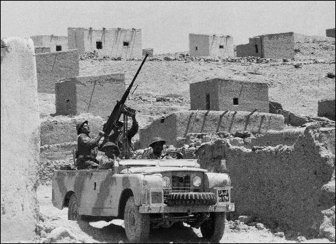 In this file photograph taken on October 29, 1970, Jordanian soldiers patrol in an armed jeep in the Jordan valley