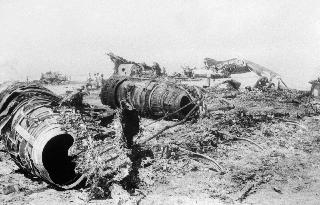 This file photograph taken on September 7, 1970, shows wreckage of the Swissair, TWA and BOAC aircraft in Zarka (Dawson's Field) in the Jordanian desert, which were hijacked September 6 and 9 1970 by The Popular Front for the Liberation of Palestine (PFLP), leading to the events of 'Black September'