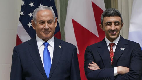 L-R) Israeli Prime Minister Benjamin Netanyahu; Sheikh Abdullah bin Zayed bin Sultan Al Nahyan, Minister of Foreign Affairs and International Cooperation of the United Arab Emirates; and Dr. Abdullatif bin Rashid Alzayani, Minister of Foreign Affairs, Kingdom of Bahrain