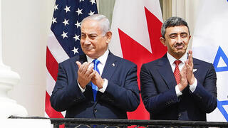Prime Minister Benjamin Netanyahu and UAE Foreign Minister Abdullah bin Zayed Al Nahyan at the White House on Tuesday