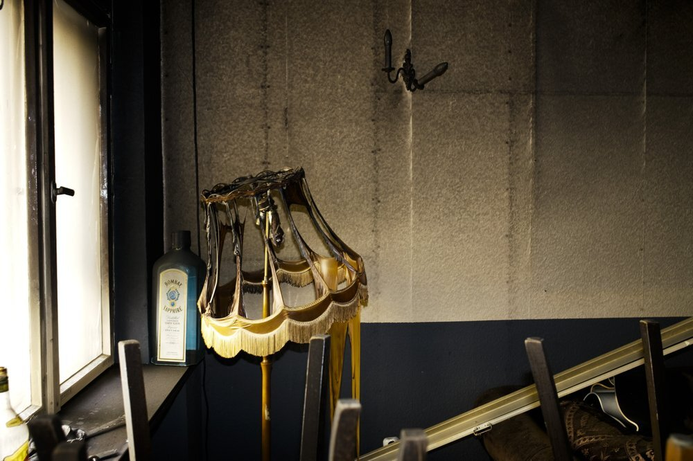 The remains of a lamp stand in the burned out Jewish-run bar 'Morgen wird Besser' (Morning will be better) in Berlin, Germany