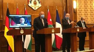 Start of the joint press conference for Foreign Ministers of #Egypt, #Jordan and #France, with the participation of the FM of #Germany via video conference