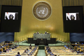 The general debate of the General Assembly's seventy-fifth session during Al-Moalem's speech at the 75th General Assembly of the United Nations, in New York, New York, USA, 26 September 2020