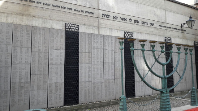 The Monument to the Memory of the Holocaust Victims, located within the courtyard of Stockholm's Great Synagogue