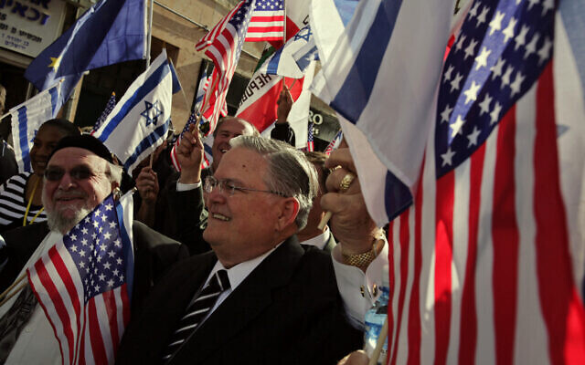 U.S. Evangelist John Hagee, center, leads a march of Christians in support of Israel in Jerusalem