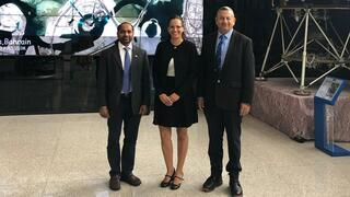 L-R: Dr. Shirish Ravan of the UN-SPIDER India office with Dr. Shimrit Maman and Prof. Dan Blumberg of Ben-Gurion University at the UNOOSA headquarters in Vienna