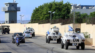 A UN convoy at the Israel Lebanon border at the opening of bilateral talks on maritime borders