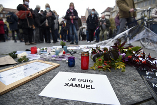 A memorial for Samuel Paty, a French history teacher who was beheaded near Paris after discussing caricatures of Islam's Prophet Muhammad with his class